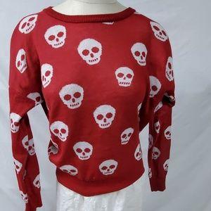 Zenana Red Sweater Skulls Size Large